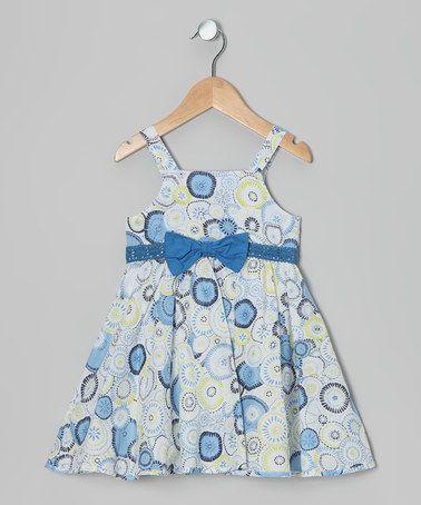 Look at this #zulilyfind! Blue & White Floral Circle Dress - Toddler & Girls #zulilyfinds