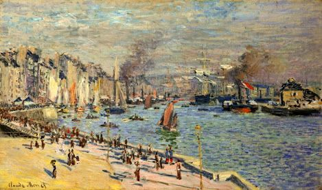 Claude Monet – Vue de l'Ancien Avant-Port du  Havre – 1874 – Oil on canvas – 60 x 102 cm  The Philadelphia Museum of Art : Bequest  of Mrs. Frank Graham Thomson, 1961   http://gabineted.blogspot.com.br/2014/09/impressao-o-nascer-do-sol-verdadeira.html