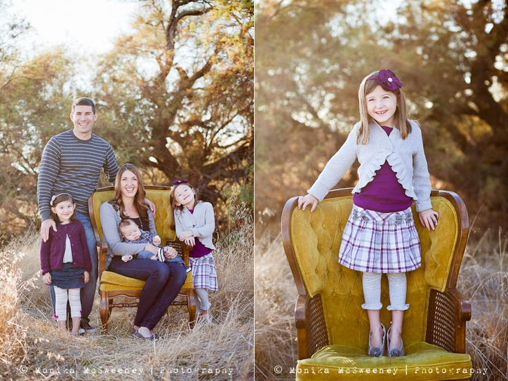 Love the colors of this photo and how this family used this chair!!   Chair | Photography | Family | Outdoors