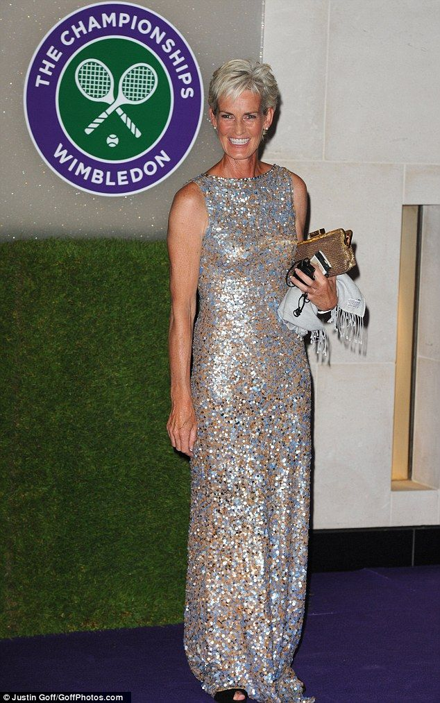 Judy Murray showed off her glamorous side in a glittering Jenny Packham gown during the Winner's Ball last night.