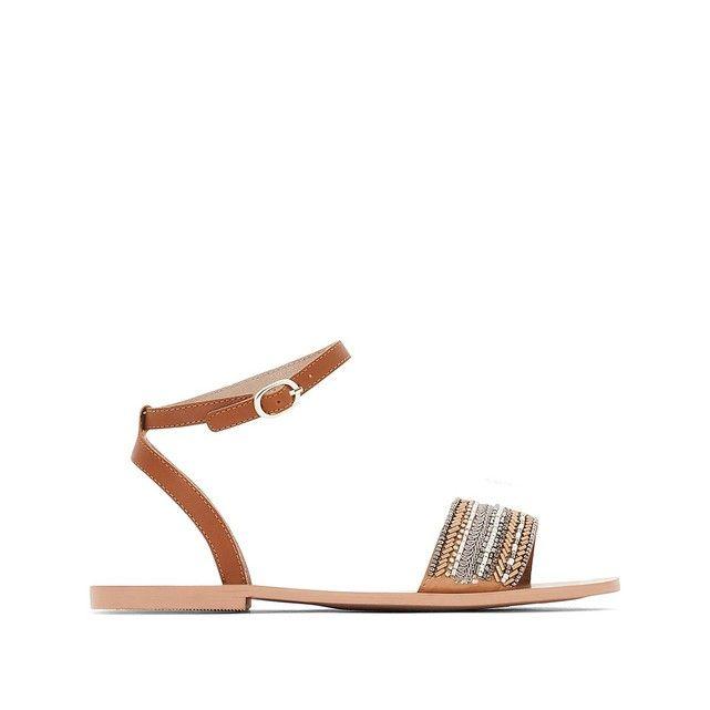 Sandales cuir bride perles tan Mademoiselle R | La Redoute