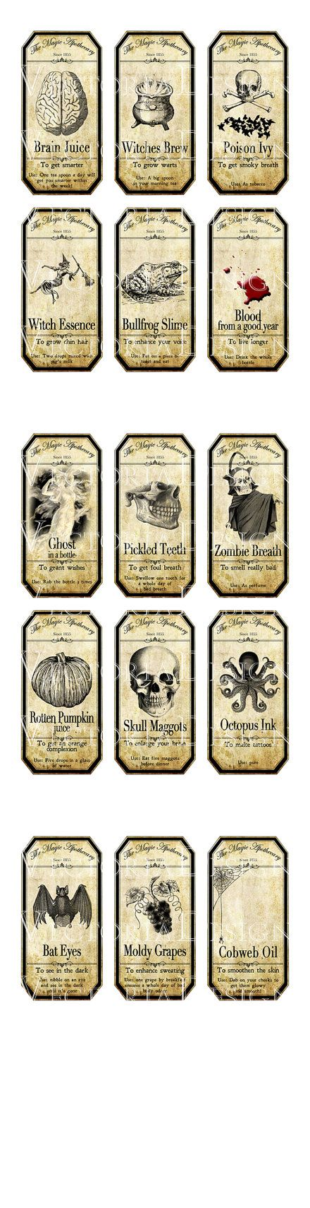15 Large Halloween Apothecary Labels 4.5 x 2.23 by VectoriaDesigns, $4.95
