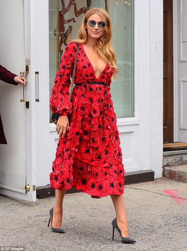 Blake Lively at New York Fashion Week - street style - red poppy dress with Louboutin heels.