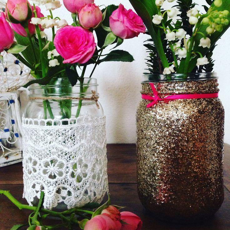 bocal mason jar pailleté et dentelle pour fête anniversaire ou mariage- glitter and lace jar for party or wedding