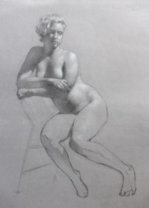 Free download: Human Figure Drawing, by Sadie J. Valeri!  Study of Torrey (charcoal and white chalk, 18×14) by Sadie J. Valeri #drawing #figure
