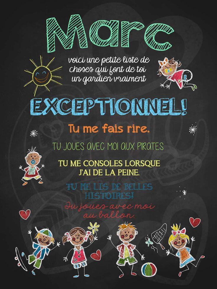 Affiche personnalisée Gardien exceptionnel! | 15,00$ #lacraieco #chalkboard #cadeau #gardien #garderie