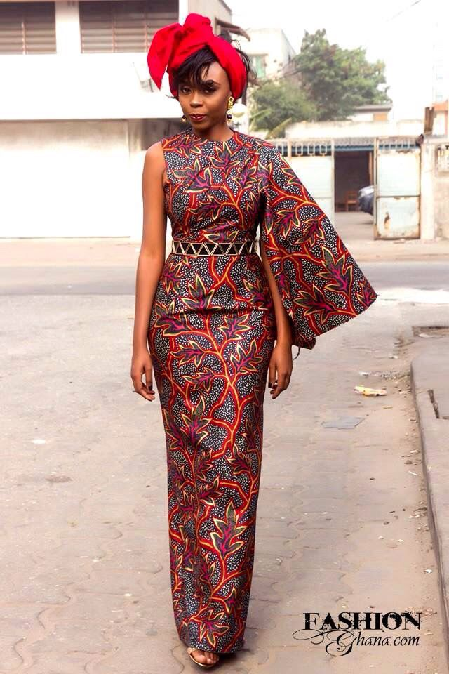 """One-sided"":Dress ~ African fashion, Ankara, kitenge, Kente, African prints, Braids, Asoebi, Gele, Nigerian wedding, Ghanaian fashion, African wedding ~DKK"