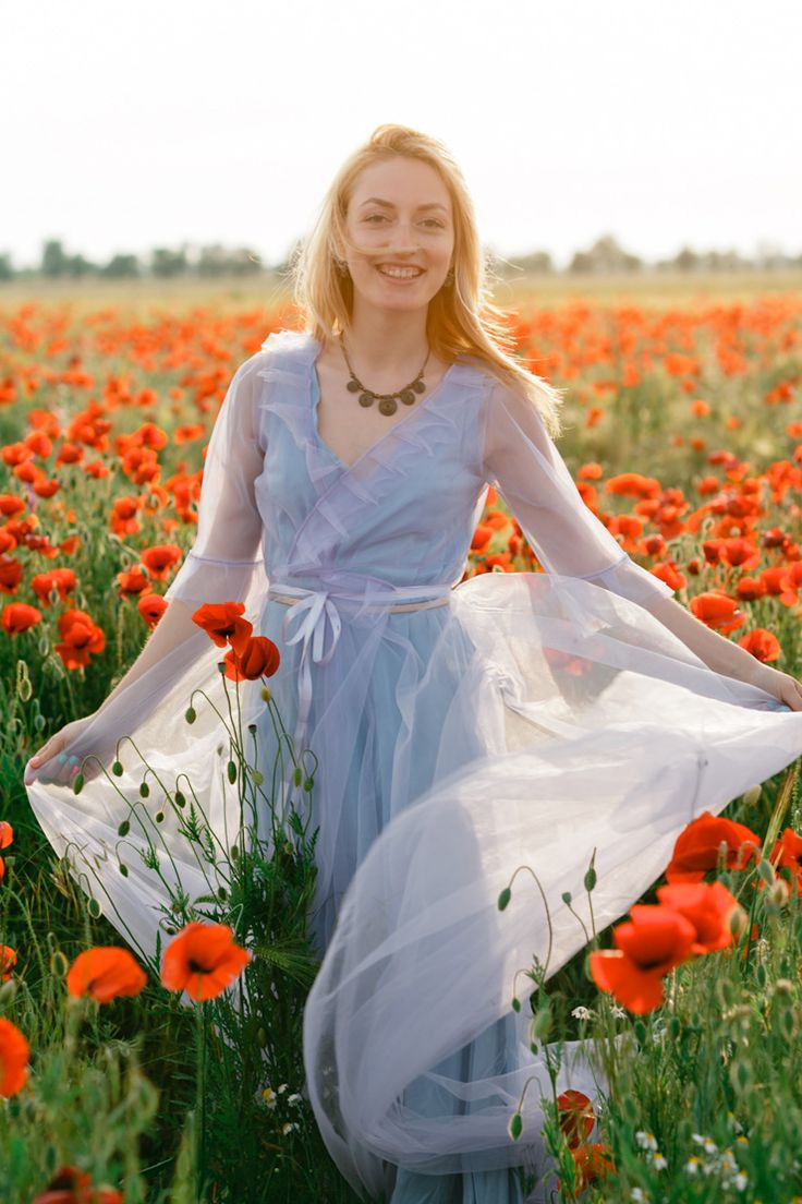 Poppy Wedding Bouquet + Blue Gown For A Pre-Wedding In A Poppy Field