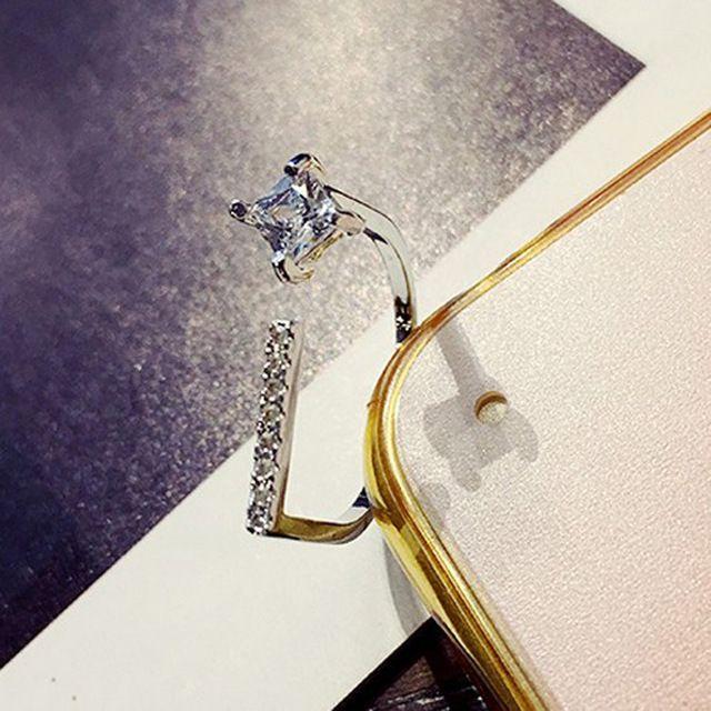 Fino Cristal Anéis Abertos Para Mulheres Moda Banhado A Ouro Partido Jóias Anel Bijoux Personalidade Na Moda Presente Bonito