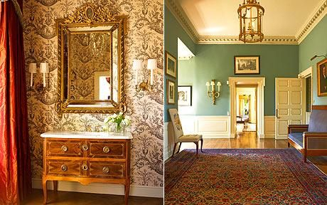 Renovation in Scotland: A toile-themed attic bedroom is hung with wallpaper by F Schumacher. The mirror was bought in Italy, the chest from Christie's. Above right, the hallway, painted in Farrow & Ball's Teresa Green