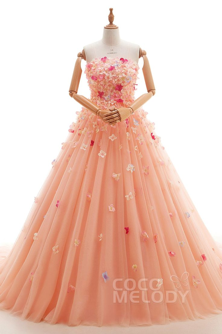 Unique A-Line Strapless Natural Court Train Tulle Living Coral Sleeveless Lace Up-Corset Wedding Dress with Beading and Flower ld4133 #weddingdresses #cocomelody