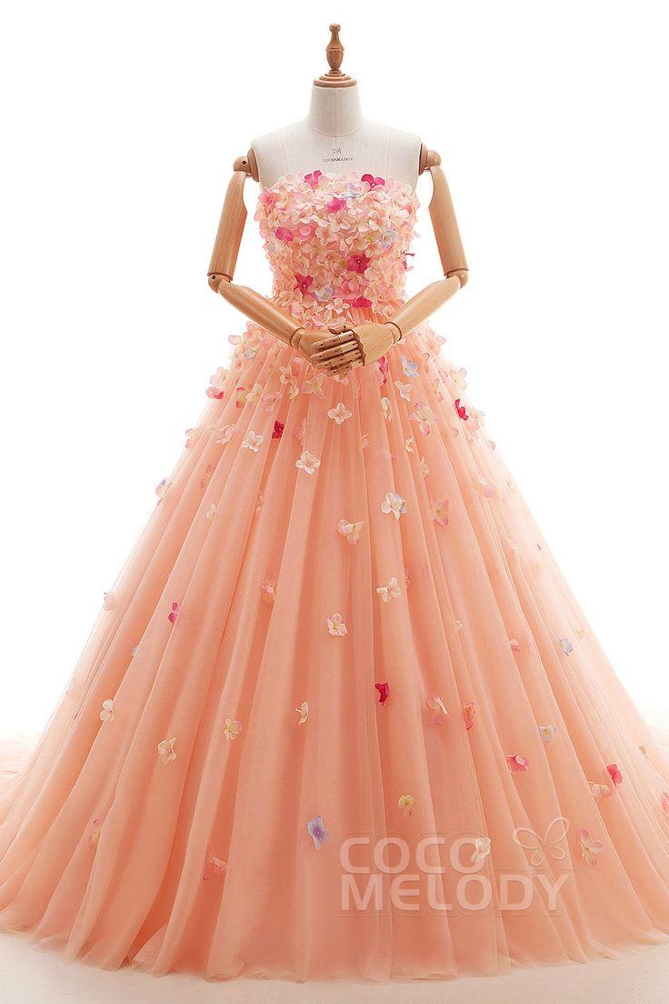 ユニーク Aライン ビスチェ 取り外しのコートトレーン チュール アプリコットピンク 編み上げ カラードレス ビーディング 全身にきれいな小花を散りばめ ld4133