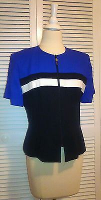 Womens violet,black,and white zip up career jacket petites size 12