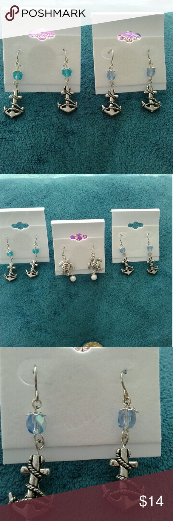 """Handmade Anchor earrings Handmade dangle earrings Brand new!! Silver Anchor charm with rope detail with beads..2 colors available,  blue or teal. 2 available! Measurements: 1 3/4"""" long 1/2"""" wide. Silver turtle charm with white pearl, so precious! Measurements: 1 1/2""""  long 1/2"""" wide. 1 available! Only $14 each!!! Jewelry Earrings"""