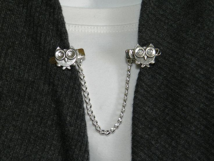 Collar clips, Silver sweater clips, Cardigan brooch, Sweater clip brooch, Sweater guards, Sweater clip clasp, Silver collar clips, Cardigan by StudioSmiley on Etsy
