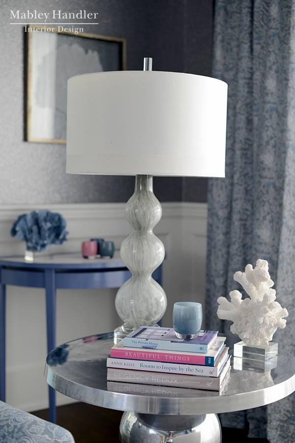 Drapery panels: AERIN for Lee Jofa Marila in Dusk and Kravet Couture Signature Leno sheer