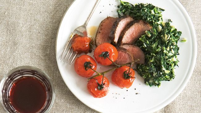 Rosemary lamb on creamed spinach
