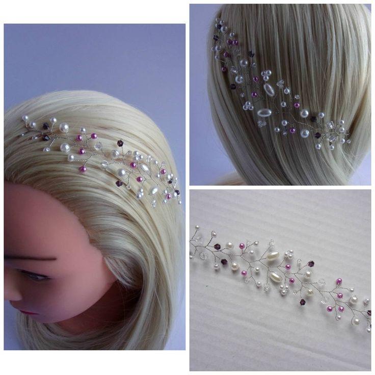Vigne de cheveux avec perles et cristaux Swarovski/Accessoire de mariage/Couronne perlée/Bandeau pour mariage/ 9 couleurs disponibles de la boutique HappyWeddingDreams sur Etsy