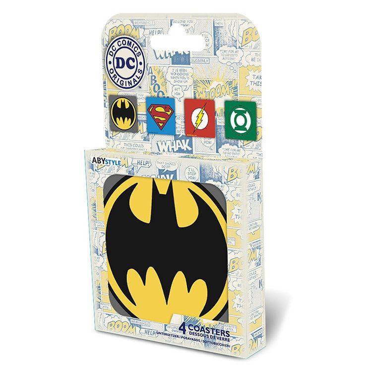 Dessous de verre DC Comics avec l'emblème de Batman, Superman, Flash et Green Lantern