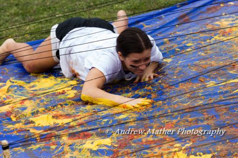 messy obstacle course game-use slime/shaving cream/paint and tarps