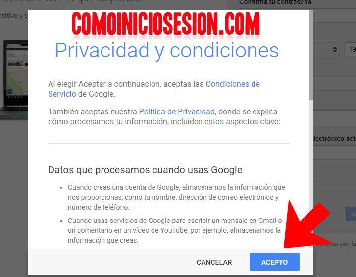 Privacidad de Gmail al crear una cuenta de correo electrónico. http://comoiniciosesion.com/crear-cuenta-gmail/