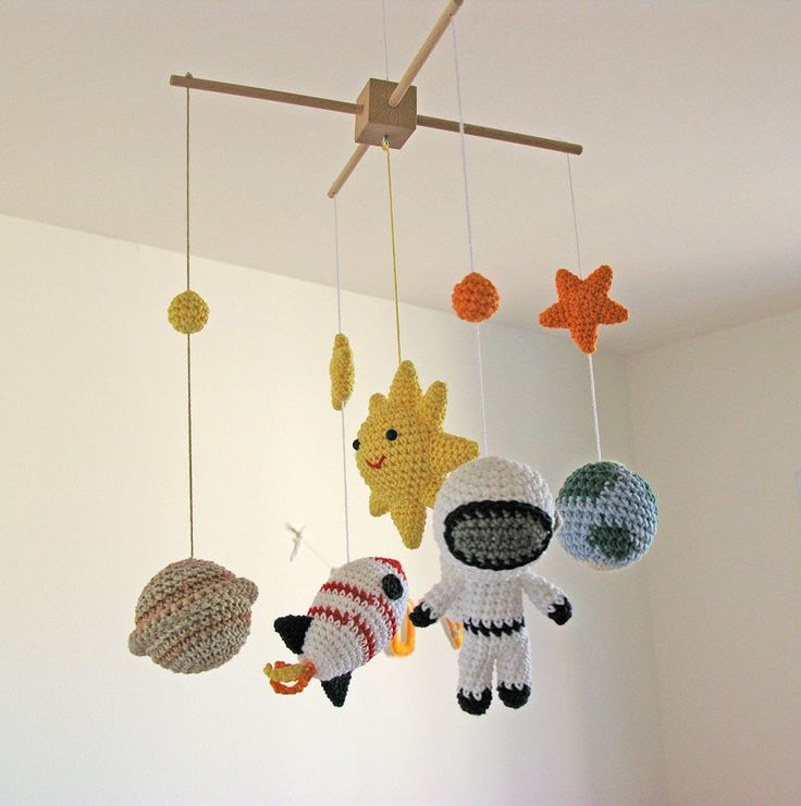 Space Baby Mobile, Crochet Space Nursery Mobile Decoration with Solar System, Sun, Stars, Planet Earth & Saturn, Astronaut, Rocket by cherrytime on Etsy