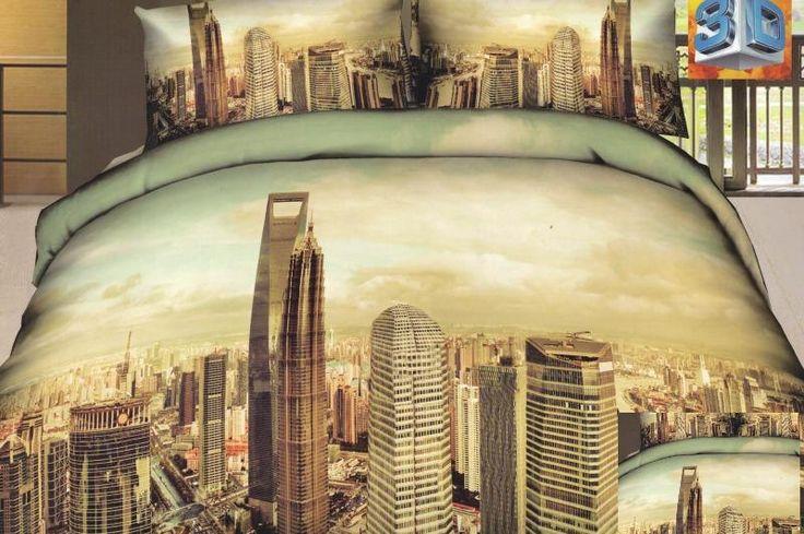 Béžové ložní povlečení s motivem velkoměsta