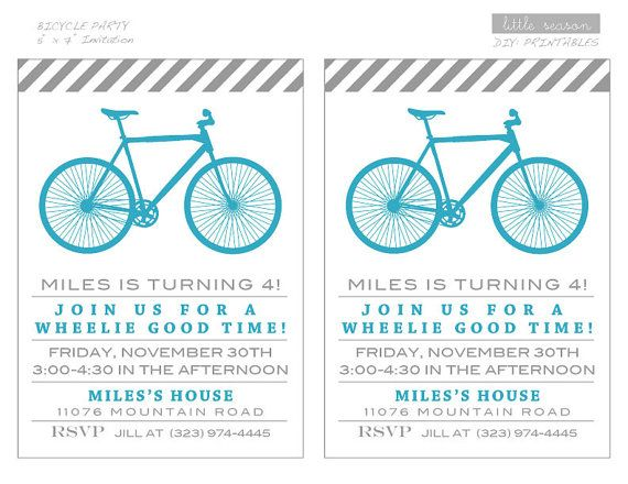 Bicycle Birthday Party Printable Package