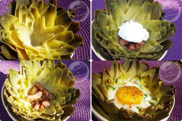 Oeufs cocotte en coques d'artichaut piment d'espelette et petits lardons le nid cocotte de paques