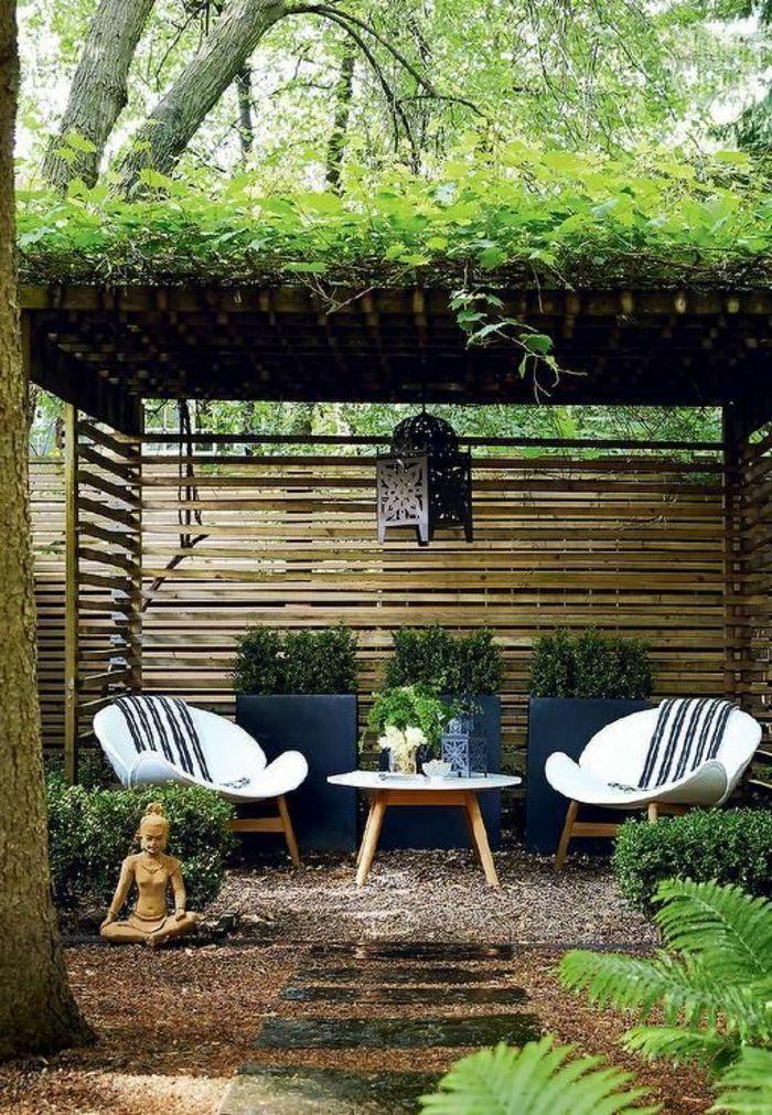 Jardin Zen Chaises En Bois Statue Bouddha Cloture En Bois Sentier En Pierre Terrain Avec Cailloux Zengarden Zen Ga En 2020 Jardin Zen Design De Jardin Zen Patio Diy