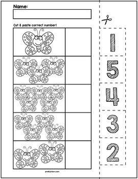 Butterflies Cut & Match Worksheets | Numbers 1-5