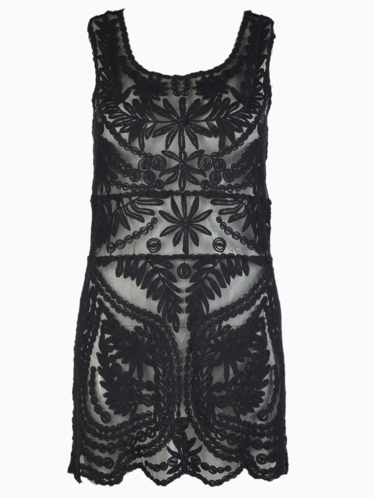 Want! Want! Want! Love Black Lace! Crochet Black Lace Sleeveless Dress with Mesh Panel #Black_Lace #Sheer #Floral #Crochet #Party_Dress #Cocktail_Dress #Fashion