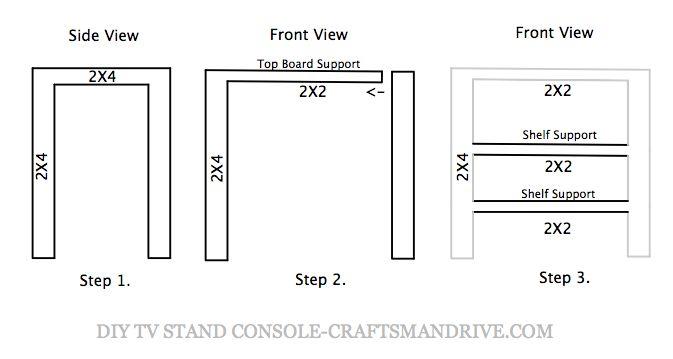 DIY TV Stand custom plan draw up from Craftsmandrive.com.