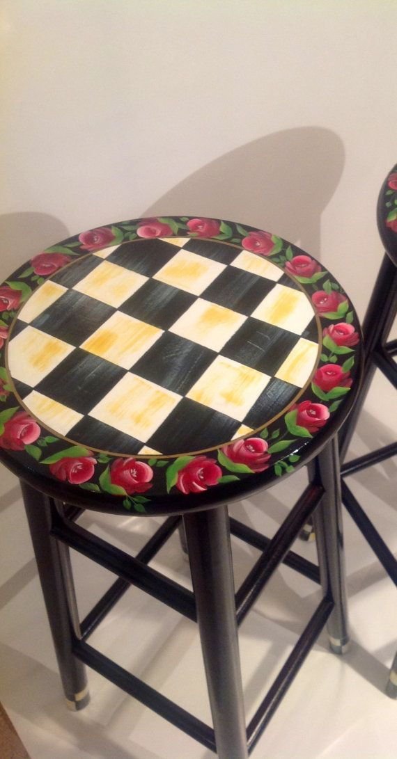 Items similar to hand painted custom round top wooden bar stool - counter stool - chair - checks -roses on Etsy & Best 25+ Hand painted stools ideas on Pinterest | Painted stools ... islam-shia.org