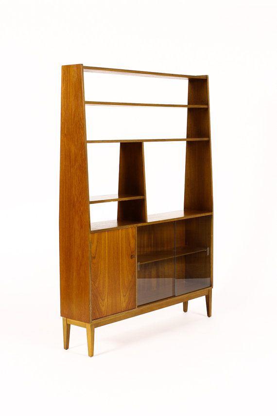 Danish modern mid century teak upright freestanding wall - Modern bookshelf wall unit ...