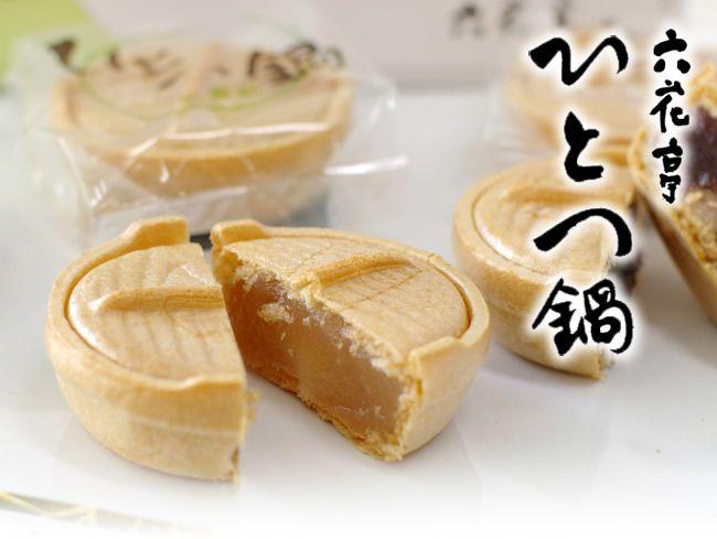 六花亭 ひとつ鍋:北海道開拓時代の鍋をかたどった餅入りも中。小倉餡、こし餡、白餡