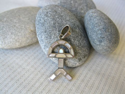 Indalo pendant ~ classic shape, silver + mother-of-pearl