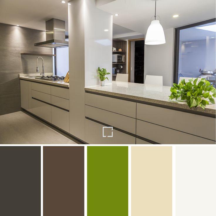 Paleta de colores, para una cocina acogedora y limpia.