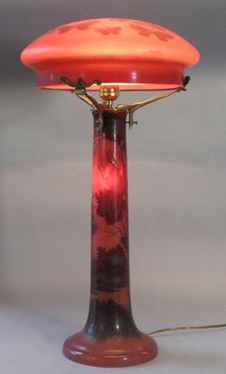 Antique Emile Galle Cameo Art Glass Mushroom Lamp c. 1920 Art Nouveau ㊙️More Like This At FOSTERGINGER @ Pinterest