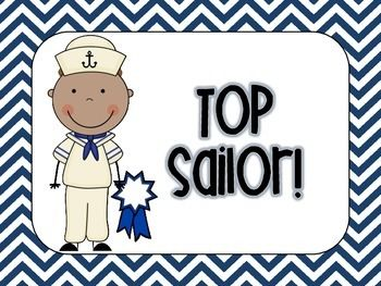 Nautical Chevron Behavior Chart Clip Up/Clip Down