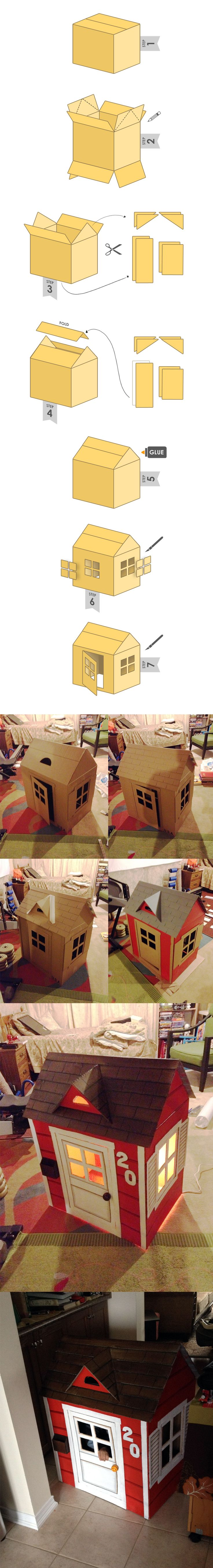 Cardboard box house. Step 0: Buy something that comes in a giant box. Proceed to Step 1. casa com caixa de papelão