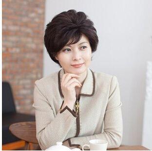 Парик среднего возраста женщины короткая волосы боб мать синтетический волос высокая температура проволока черный коричневый сеть волос