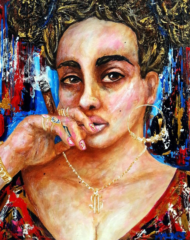 Smoking bling bling Acrylics 16x20 inches