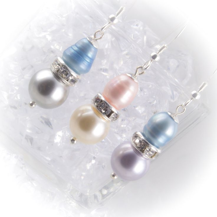 Sterling silver pearl drop Bridesmaid earrings with freshwater and Swarovski pearls and rhinestone rondelles 219931EBM by LaraBellaJewelry on Etsy