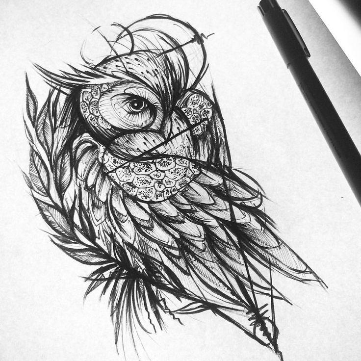 Owl Tattoo Sketches De 25+ bedste idé...