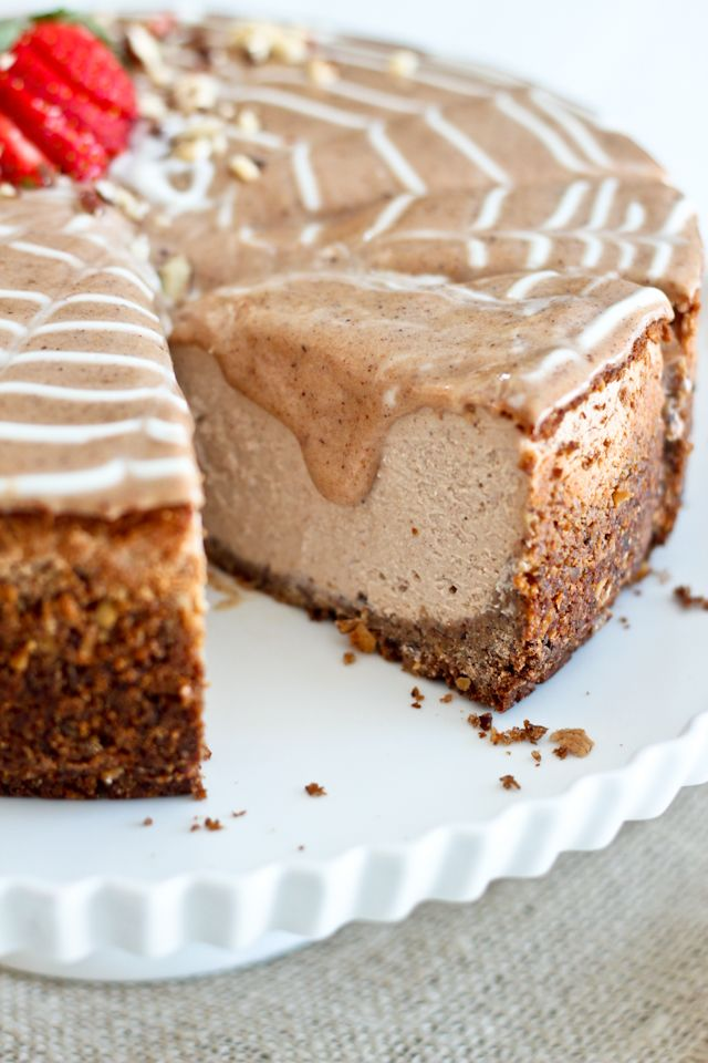 Decadently Healthy(er) Chestnut and Hazelnut Cheesecake   by Sonia! The Healthy Foodie