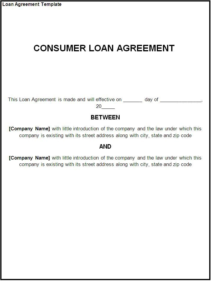 printable sample loan template form business agreement sample letter