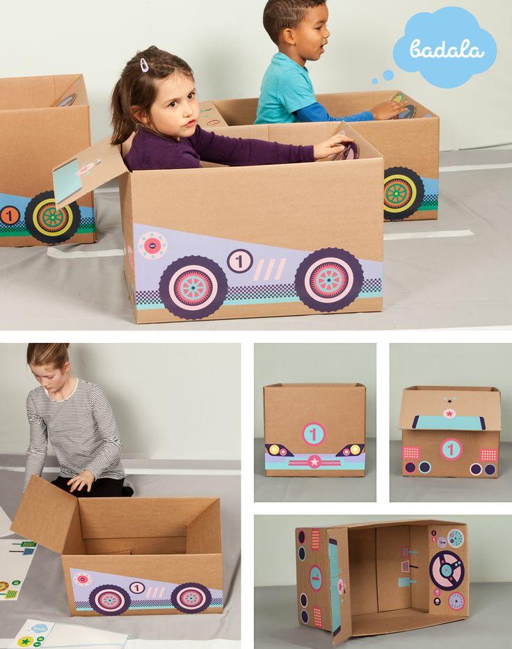 Flotter Flitzer für Mädchen und für alle, die auf Spaß und Umweltschutz abfahren. For fast and furious girls and boys. badala, Sticker, Fantasie, Rollenspiel, Spaß, Schachtel, Spielzeug, Rennwagen, Formel 1, basteln, verwandeln, Tankstelle, Zielflagge, Karton, DIY, imagination, roleplay, fun, kids love boxes, cardboard, toy, tinker, box, boy, girl, cardboardboxes, upcycling, race car, formula 1, petrol station, checkeredflag
