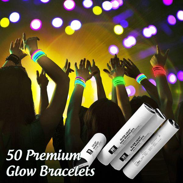 50 Solid Color 6mm Glow Bracelets