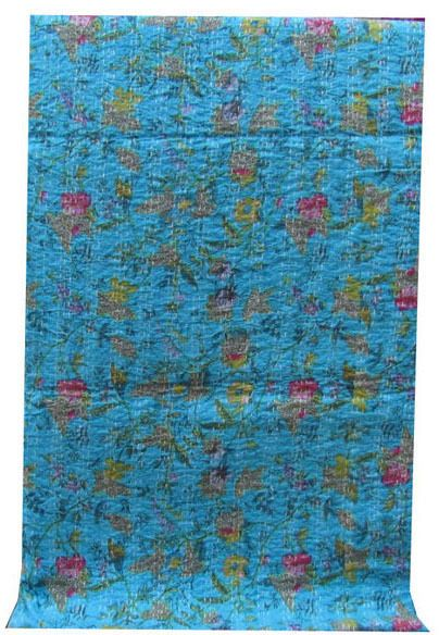 TWIN INDIAN Cotton KANTHA QUILT BLANKET ETHNIC BEDSPREAD BED COVER VINTAGE #Unbranded